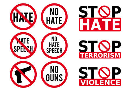 No hate speech sign, prohibition symbol, stop violence, fight against cyber bullying, set of vector design elements