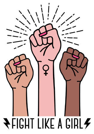 Different feminist hands with female sign, fight like a girl, feminism concept, vector illustration