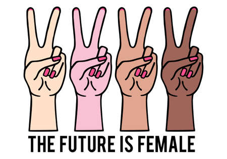Feminist female hands with peace sign, girl power, vector illustration Banco de Imagens - 143526981