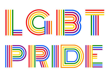 LGBT pride, gender equality concept, colorful rainbow vector lettering