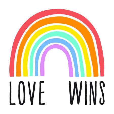 Love wins rainbow, gender equality concept, peace, tolenrance, hand-drawn graphic design element, hand lettering, vector illustration