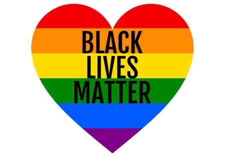 Black lives matter, rainbow heart, LGBT, pride, equality, vector design element Banco de Imagens - 150499904