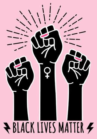 Black lives matter, fist, female hands protest against racism, vector illustration