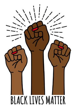 Black lives matter, female hands protest against racism, black fists fighting, vector illustration
