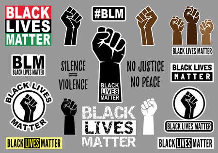 Black lives matter, fist sticker, fighting hands poster, protest against racism, set of vector graphic design elements