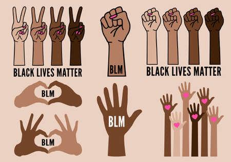 Black lives matter, blm, female hands protest against racism, black fists fighting, vector illustration