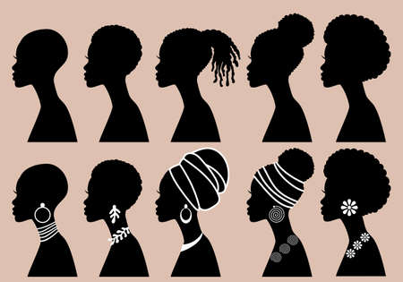 Black beauty, African Women, profile silhouettes, vector illustration set