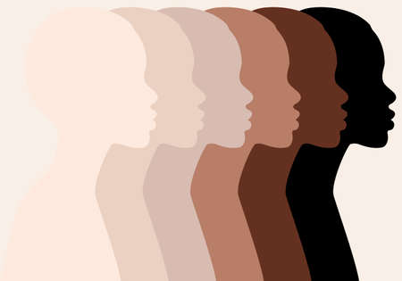 African woman, black beauty, profile silhouettes, different skin colors, people of color, vector illustration