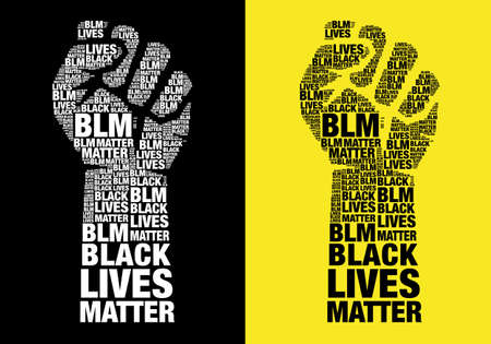Black lives matter, human male silhouette with words, blm, typographic vector illustration