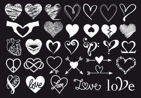 Hand drawn hearts, set of vector graphic design elements for Valentine's day card, wedding invitation