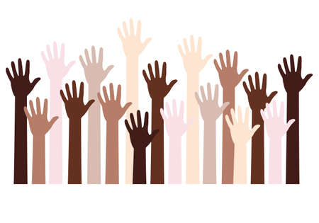 Human hands with different skin colors, people of color, black lives matter, blm, fight against racism, vector background