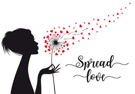 Spread love, woman holding dandelion flower with flying hearts, vector illustration for cards, art prints, wall art