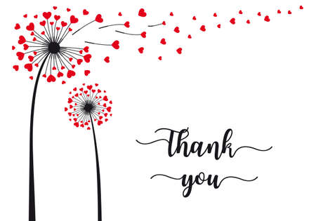 Dandelion flower with flying red hearts, vector illustration, thank you card