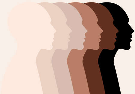 Male heads, profile silhouettes, different skin colors, people of color, vector illustration