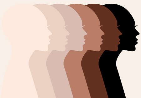 Female profile silhouettes, different skin colors, people of color, vector illustration Vektorgrafik