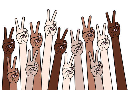 Female hands with peace sign, victory symbol, different skin colors, anti racism concept, black, lives matter, vector illustration, hand drawing Illustration