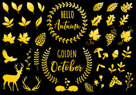 Autumn leaves, golden October, gold icons, set of vector design elements