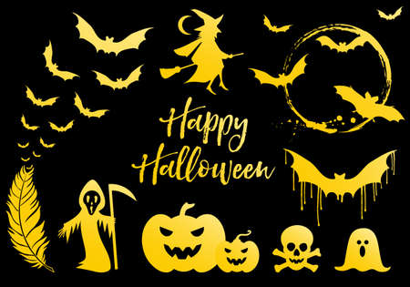 Halloween set with golden bats, flying witch, gold pumpkins, moon, ghost, vector design elements