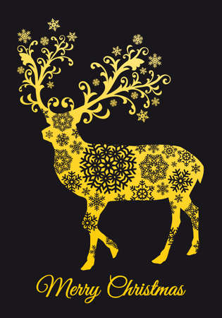 Christmas card with gold reindeer, snowflakes and ornaments, vector illustration