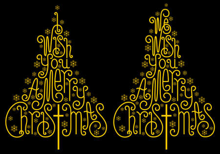 Gold Christmas trees with hand drawn letters and snowflakes, vector