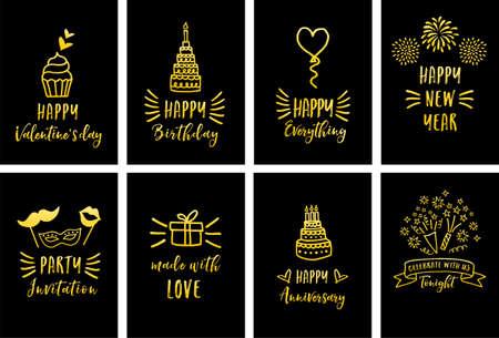 Celebration, birthday, Valentine's day, gold cards, set of vector graphic design elements Illustration