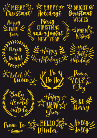 Christmas and New Year gold text overlays and golden graphic design elements, vector set Illustration