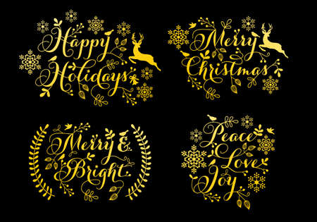 Gold Christmas ornaments for cards, tags, stickers, holiday decoration, set of vector graphic design elements