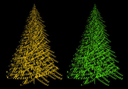 Abstract Christmas tree with gold text Merry Christmas, vector illustration Illustration