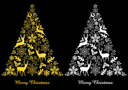 Christmas card with gold and white abstract, ornamental tree, vector illustration Illustration