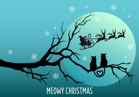 Cute cats watching Santa Claus with reindeer and sleigh, vector Christmas card