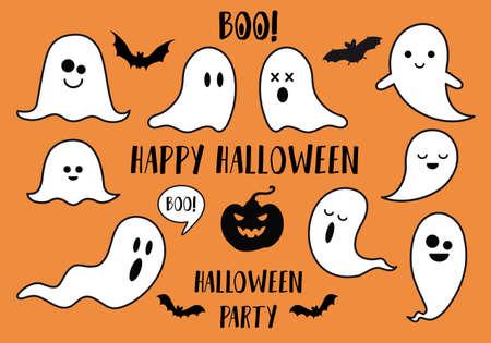 Halloween ghosts, bats and pumpkin, set of vector design elements
