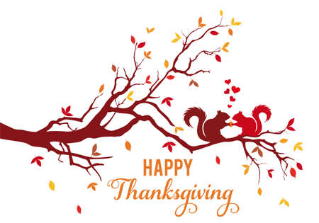 Thanksgiving card, tree branch with squirrels and colorful falling autumn leaves, vector illustration