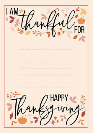 Happy Thanksgiving card, handwritten thankful for list with graphic design elements, vector illustration