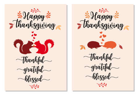 Thanksgiving card set with cute squirrels and hedgehogs, falling autumn leaves, vector illustration