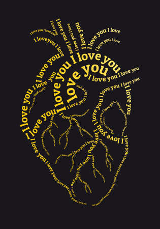 Gold human heart with I love you text, vector illustration for Valentine's day cards Illustration