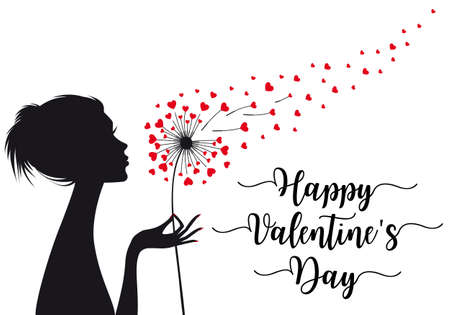 Woman holding dandelion flower with flying hearts, vector illustration, Valentines day card Illustration