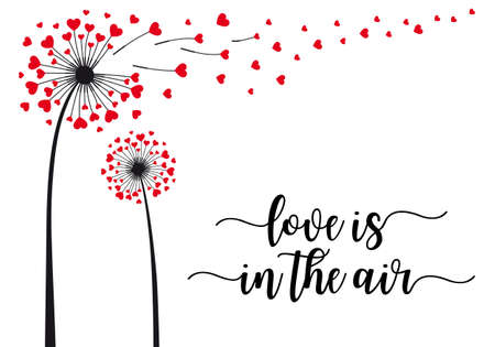 Dandelion flower with flying red hearts, love is in the air, vector illustration for cards, art prints, wall art
