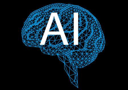 Artificial intelligence, geometric human brain, vector illustration on black background Illustration