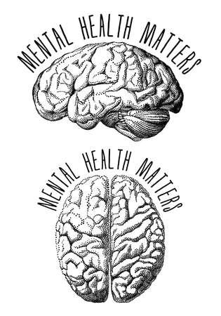Mental health matters, human brain drawing, vector illustration Illustration