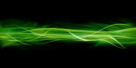 illustrative: Abstract illustrative image of twisting tapes, waves and textures in green