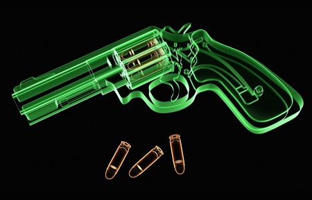 X-ray image of a revolver and ammo on black background Stock Photo