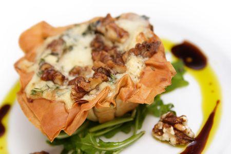 filo: Filo pastry with garnish Stock Photo