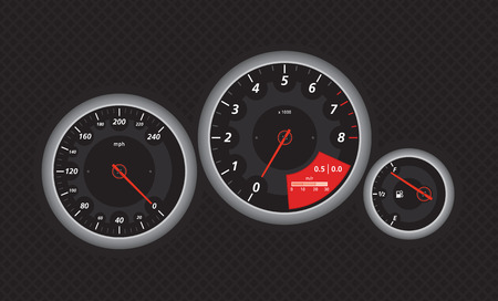 Speedometer from fast car, with red details. Vectored eps illustration.