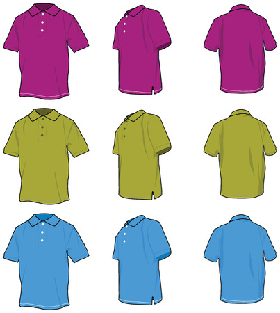 Polo shirts. Vectored shirts, three views in three colours. Çizim