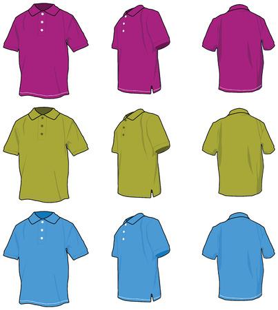 Polo shirts. Vectored shirts, three views in three colours. Vector