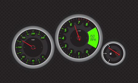 rev counter: Speedometer from fast car, with green details. Vectored eps illustration.