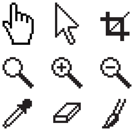 Classic screen tools, white background Çizim