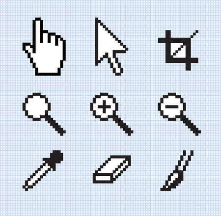 Classic screen tools, on a grid background. Vector
