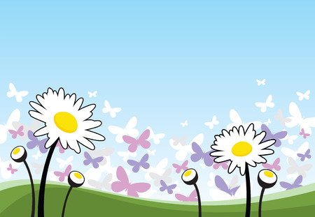 Spring flowers and butterflies Vector