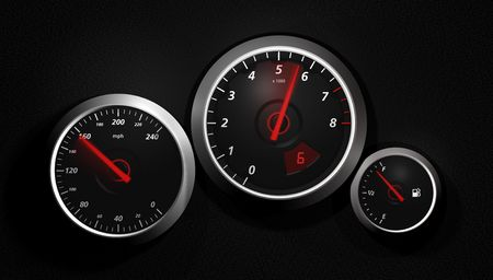rev counter: Speedo. A sports car instrument panel showing speed.